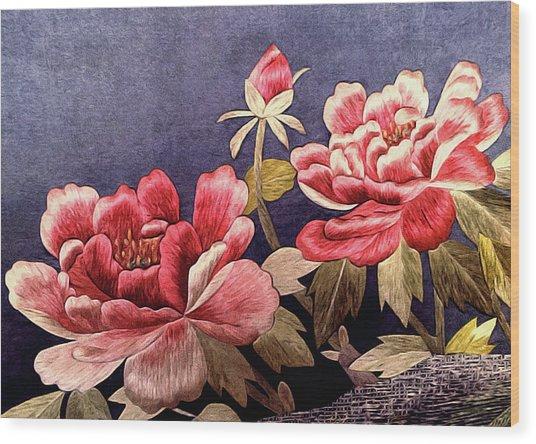 Silk Peonies - Kimono Series Wood Print