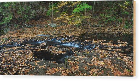 Silky New England Stream In Autum Wood Print