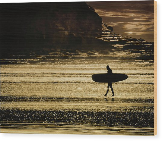Sillhouette Of Surfer Walking On Rossnowlagh Beach, Ireland  Wood Print