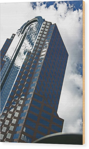 Silver Building Wood Print by Beebe  Barksdale-Bruner