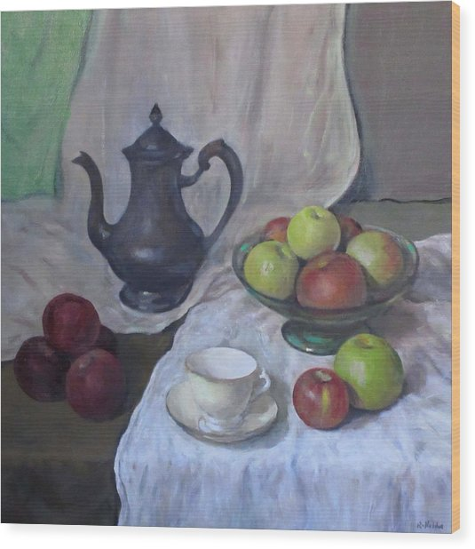 Silver Coffeepot, Apples, Green Footed Bowl, Teacup, Saucer Wood Print