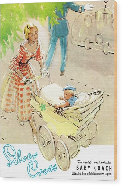 Silver Cross Baby Coach Wood Print