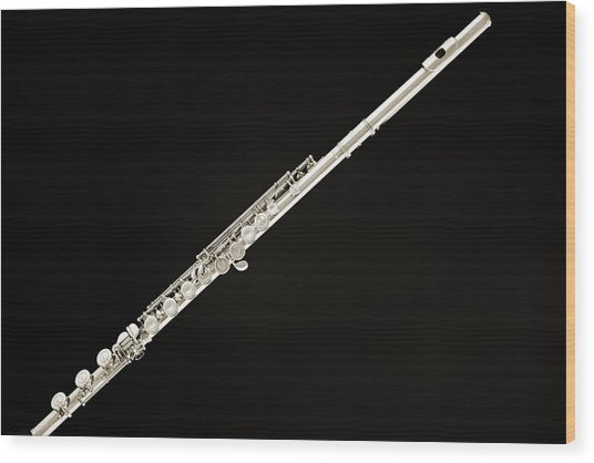Silver Flute Wood Print