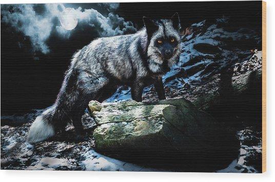 Silver Fox In Moonlight. Wood Print