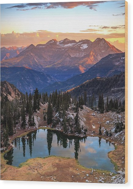 Silver Glance Lake Ig Crop Wood Print