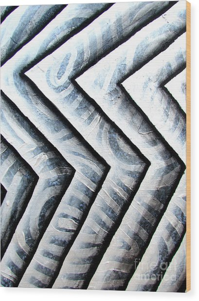 Silver Glass Waves Study 1  Wood Print