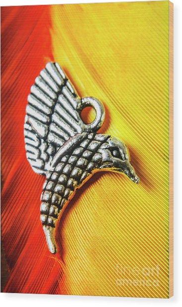 Silver Hummingbird Wood Print