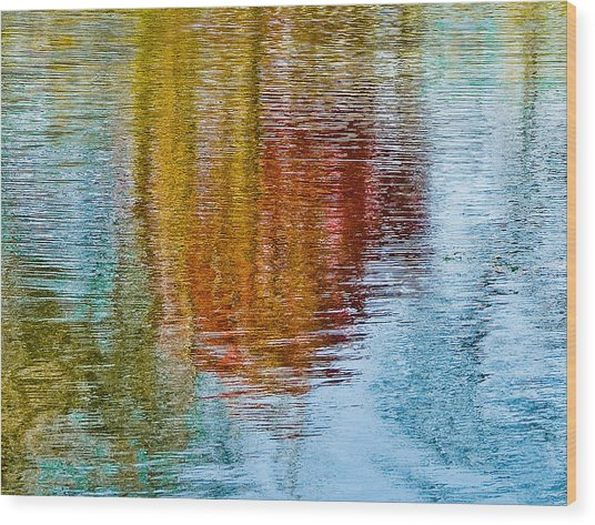 Silver Lake Autumn Reflections Wood Print