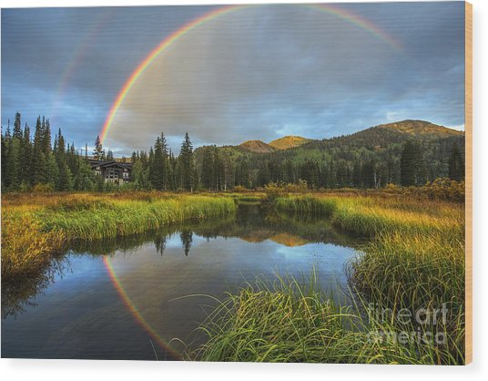 Silver Lake Rainbow Wood Print