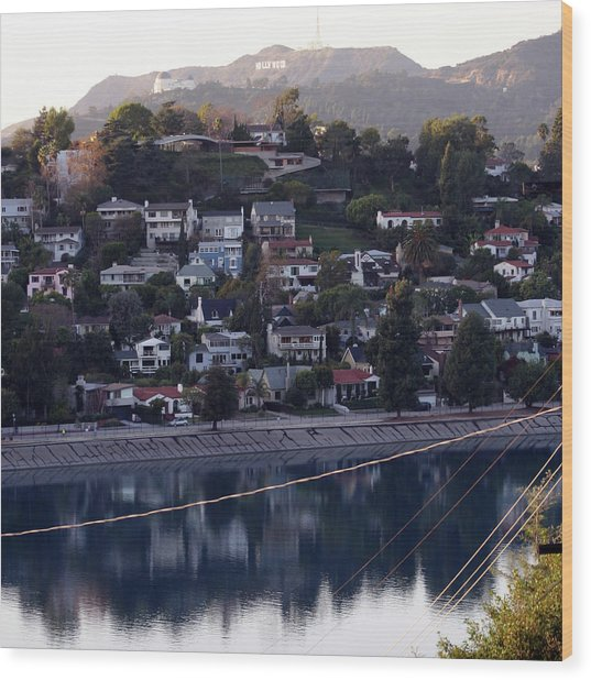 Silver Lake Reservoir And Hollywood Hills Wood Print