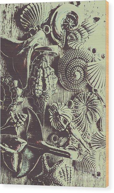 Silver Sea Abstract Wood Print