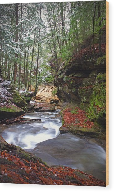 Silver Singing River Wood Print