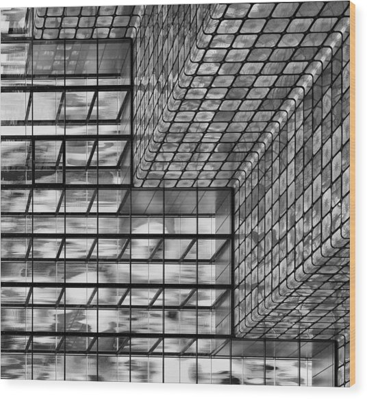 Silver Squares Wood Print by Greetje Van Son