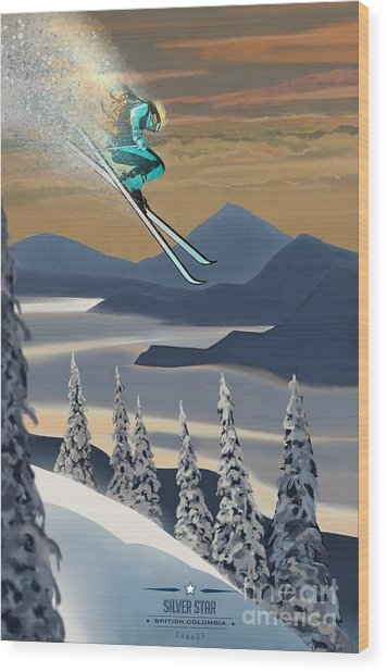 Silver Star Ski Poster Wood Print