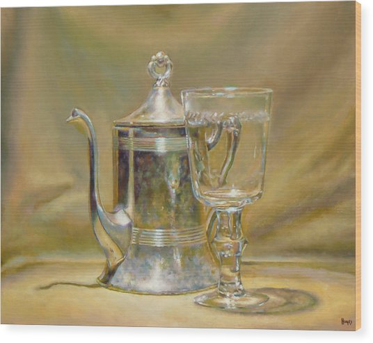 Silver Teapot And Glass Wood Print by Jeffrey Hayes