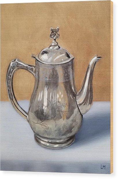 Silver Teapot Wood Print