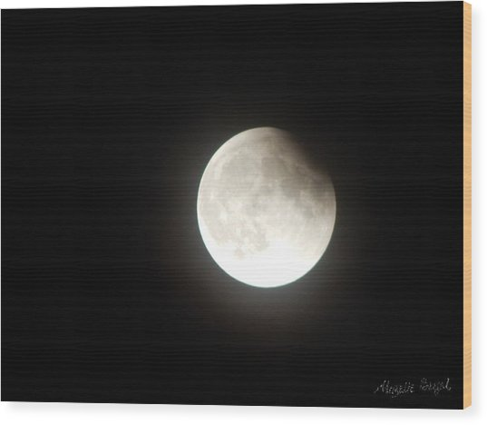Silver White Eclipse Wood Print