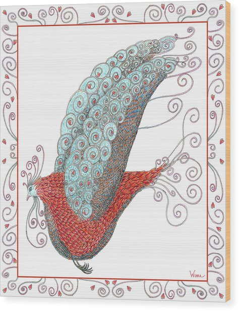 Simon Lovey The Exotic Bird With Border Wood Print