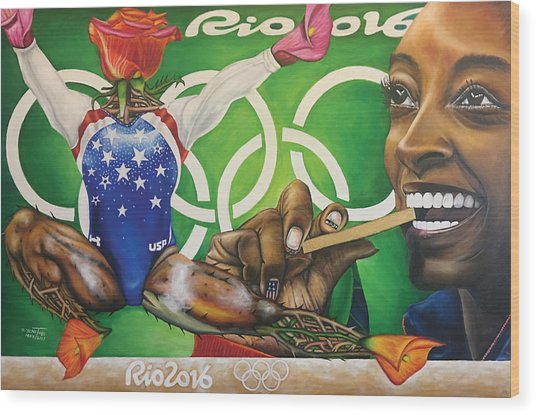 Simone Biles The Golden Rose Wood Print