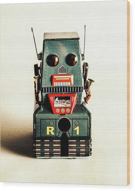 Simple Robot From 1960 Wood Print