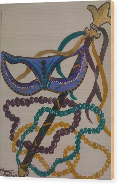 Simply Mardi Gras Wood Print by Veronica Trotter
