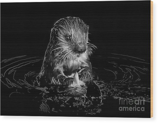 Simply Otter Wood Print