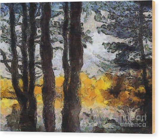 Simulated Van Gogh Scene Wood Print