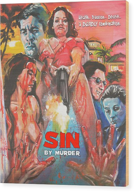 Sin By Murder Poster B Wood Print