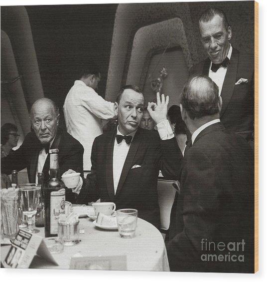 Sinatra And Ed Sullivan At The Eden Roc - Miami - 1964 Wood Print