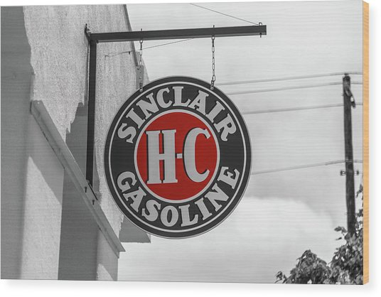 Sinclair Gasoline Round Sign In Selective Color Wood Print