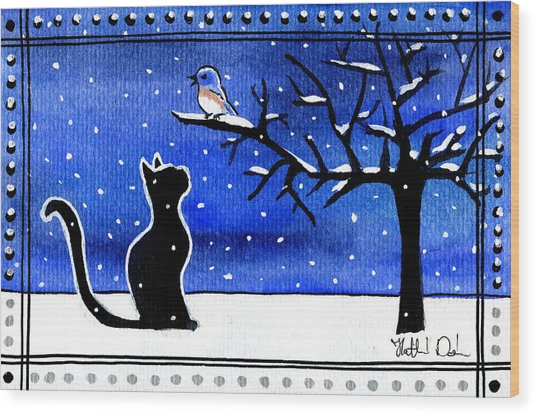 Sing For Me - Black Cat Card Wood Print