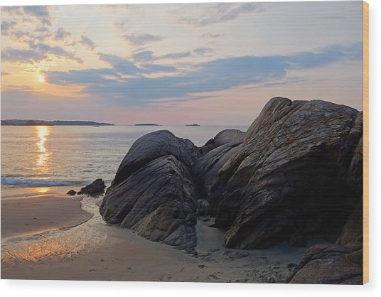 Singing Beach Rocky Sunrise Manchester By The Sea Ma Wood Print