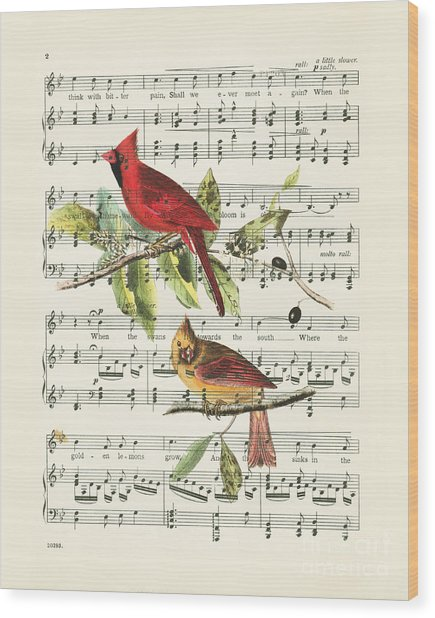 Singing Cardinals Wood Print