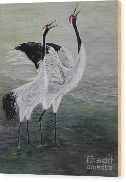 Singing Cranes Wood Print