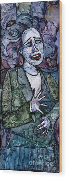 Singing Lady-blues Wood Print