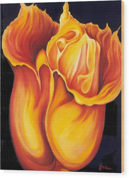 Singing Tulip Wood Print