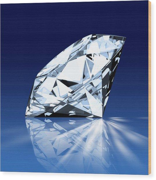 Single Blue Diamond Wood Print