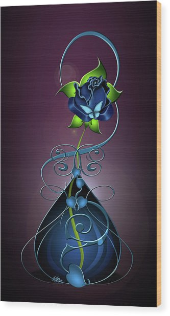 Single Blue Rose Wood Print