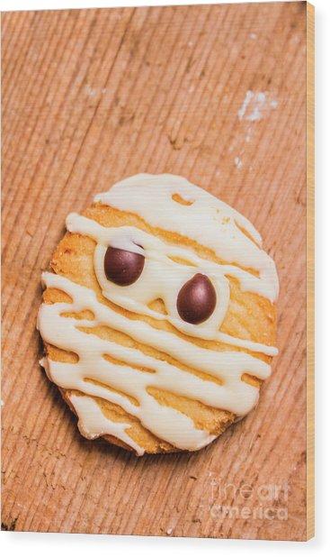 Single Homemade Mummy Cookie For Halloween Wood Print