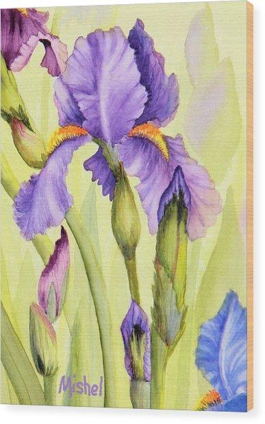 Single Iris Wood Print