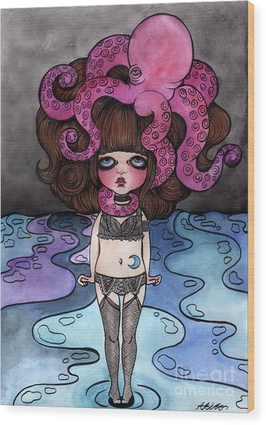 Single Night With The Octopus Wood Print