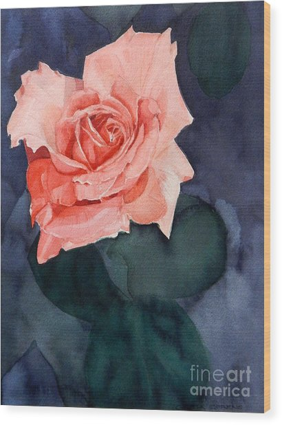 Watercolor Of A Magic Bright Single Red Rose Wood Print
