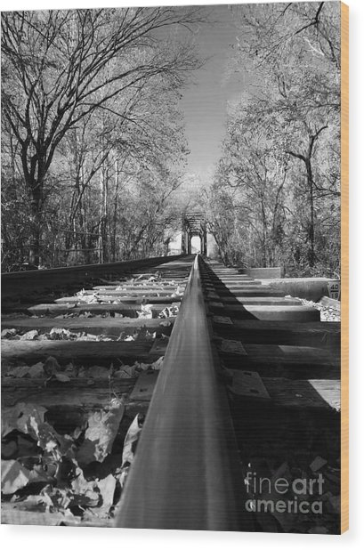 Single Track Mind - Black And White Wood Print