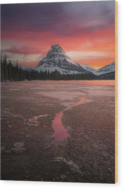 Sinopah Mountain Sundown // Two Medicine Lake, Glacier National Park  Wood Print