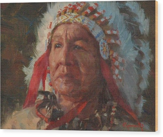 Sioux Chief Wood Print by Jim Clements