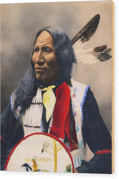 Sioux Chief Portrait Wood Print
