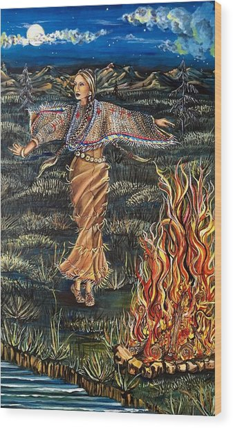 Sioux Woman Dancing Wood Print