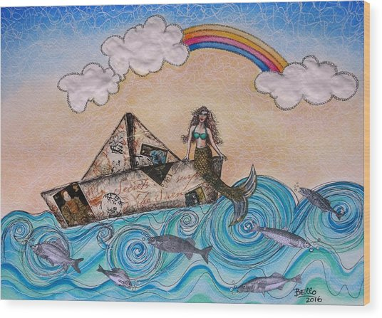 Siren On A Paper Boat Wood Print