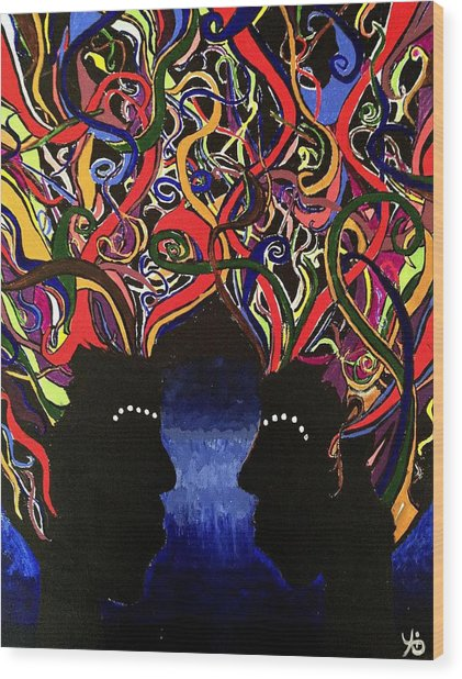 Sis The Twins - Abstract Silhouette Painting - Sisterhood - Abstract Painting  Wood Print