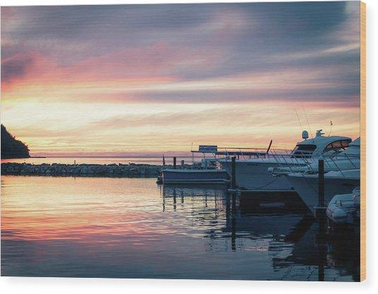 Sister Bay Marina At Sunset Wood Print